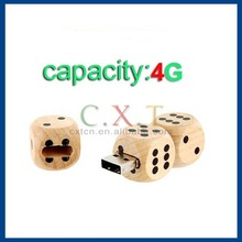 4GB Wooden Dice Shaped High Speed USB2.0 Mini Card USB Flash Drive