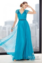 OUMEIYA OEM272 Pleated Chiffon Light Blue Mother of the Bride Dresses with Short Sleeves