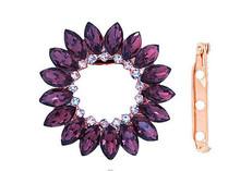 Dual Purpose Brooch Pin Slide Garment Pashmina Scarf Clip Wedding Shiny Rhinestone Round Flower Brooch for women