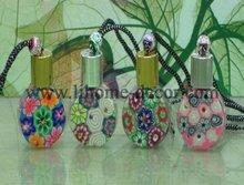 15ml round shape sofe ceramic Hanging perfume diffuser bottle car with diamond