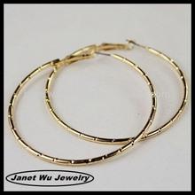 elegant 2014 fashion zinc alloy 18k gold plating big curved hoop earrings