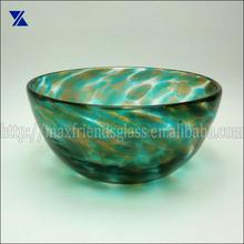 hand made big glass bowl green & gold dot