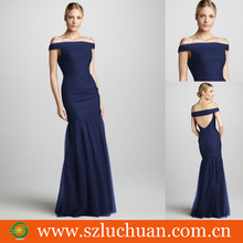 Fashion Navy Blue Tulle Sheath Off The Shoulder Evening Dress Pattern