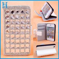 Hua shi handmade diamond leather magnetic flip case for iphone 4