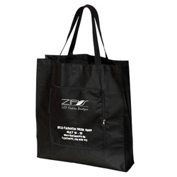 Non Woven Magic Unique Folding Shopping Tote Bag Front slash pocket Bags folds and zippers into itself