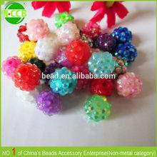fashion coloful plastic beads in bulk with diamond