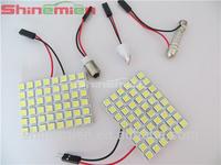 48 SMD LED Light DC 12V Panel White Car Interior Bulb Lamp T10 BA9S Dome Adapter