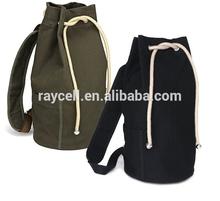 2014 fashion brief bucket design plain cotton canvas drawstring backpack/ casual outdoor sport bag