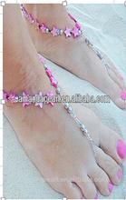 De color rosa estrella de cinco puntas de la sandalia del pie de las pulseras, Cristal del pie del grano de la joyería sandalias descalzas