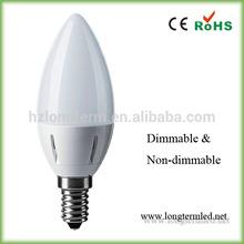 Hot popular plastic house of E14 led bulb light, 3w led candle bulb e14 ( CE, ROHS)