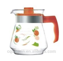 China tableware food grade orange colored cool water glass pot 1500ml(glass factory had passed FDA/EU/SGS)