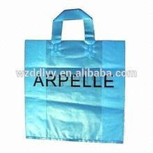 2014 hot-sealing plastic tote bags with handles/logo print promotion bag/original factory