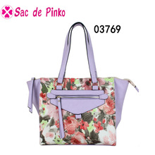 PU leather bag with digital printing design lady fashion tote bags