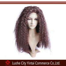 Top quality order from china direct remy virgin natural look afro curly lace front human hair wig