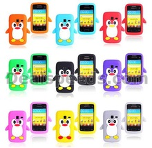Cute Penguin Design 3D Animal Silicone Back Cover for Samsung Galaxy Y Duos S6102 with 10 Colors