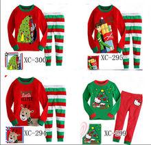 Christmas tree print baby pajamas cheap 100% cotton baby cloth children's pajamas sleeping wear suit sets