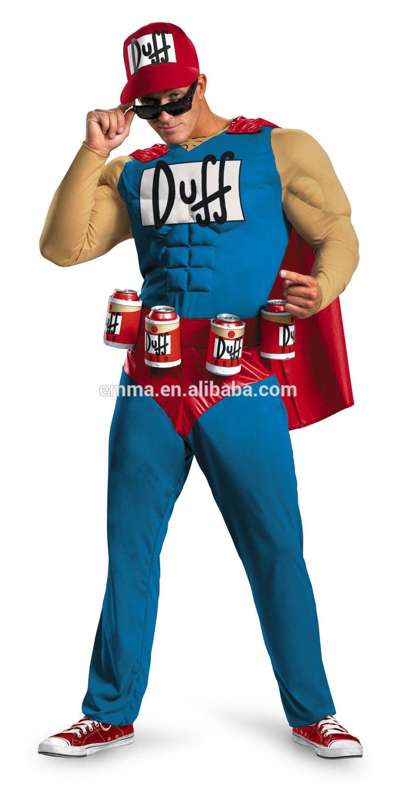 Mens adultos traje duffman muscular os simpsons duff man halloween xl coldre cerveja cm-1703 traje
