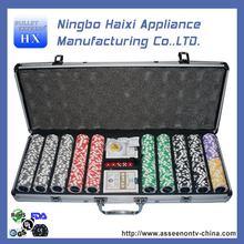 Quality hot sale poker chip set silver poker case 500pcs