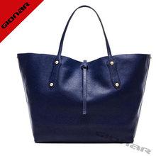 lady deep blue genuine leather bags strap lock closure