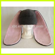 Pink and Grey Fleece Long Ear Bunny Rabbit Hat