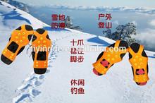 Ayd 2013 venta caliente 10 picos no- de goma antideslizante escalada en hielo crampon, nieve y hielo picos de pinzas
