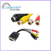 15 pin male vga to 3rca female+s-vedio converter cable factory&manufacturer&exporter