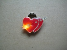 Hight quality heart shaped pin badges with An arrow through the heart shape