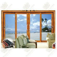Wooden color Aluminum Frame Glass Door Triple Sliding Door