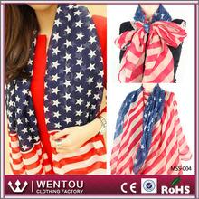 Latest fashion American flag colorful voile star scarf shawl