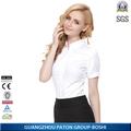 60% algodão cor sólida de manga curta ladies formal shirt