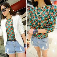Chic Casual Shirts Women Printed Chiffon Short Sleeve Geometric Lady Blouse