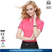 garment factory 100% cotton short sleeve office wear white shirts for women