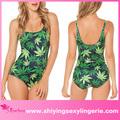 أوراق خضراء جميع أنحاء xxl الجنس بلا أكمام رومبير ملابس السباحة
