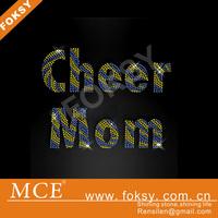 wholesale high quality cheer mom iron on rhinestone transfers