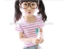 Cotton children girl's T shirt,stripe,bunny designs 2014 Summer