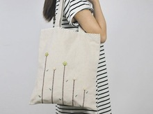 Top selling gray linen shopping bags vertical type handbag wholesale China