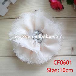 CF0601 New high quality pearl rhinestone shabby chiffon flower applique for dressing