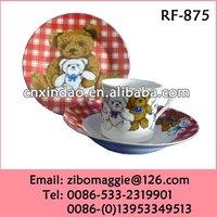 Round Shape Professional Zibo Made 3pcs Wholesale Kids Porcelain Dinnerware