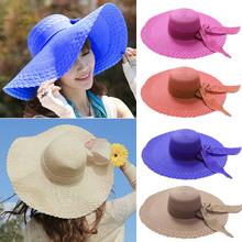 Fashion wholesale women sun hats Girl Bow Wide Large Brim Floppy Straw Cap Summer Beach