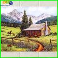 pittura a olio mattonelle di ceramica foto di casa verde