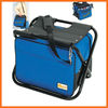 Folding cooler seat stool with shoulder bell