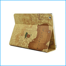 Retro designed canvas stand case for iPad air 5 cheap tablet case-vintage map