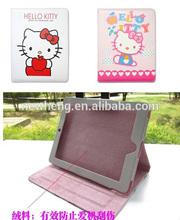 for Apple ipad 2/3/4 case cartoon hello kitty bows ribbon leather flip case for ipad 2