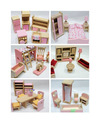 Madeira maciça mini móveis toy para crianças que jogam casa