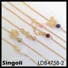 Personalized 6 charm bracelet sets wing flower tree looping leaf butterfly bracelet with bead hammer gold chain bracelet