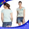 Sun wear short sleeve tight v neck t shirt for girls wholesale