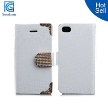 New Luxury Diamond Magnetic Bling Shiny Crystal PU Leather Flip Wallet Case for iPhone 6 4.7'' Cover Made in China