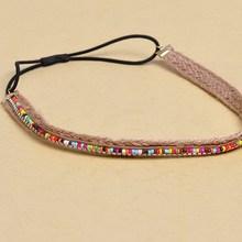 2014 wholesle Bohemia hemp rope diamond hair with hair color magnetic beads headband
