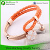 Wholesale Jewelry Plated Rose Gold with Flower Charm Black Two Layer Braided Leather bracelet