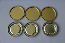 Food grade gloss gold metal lids in set for paper tube ends